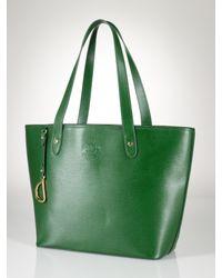 5a9f9f9c2d Lauren By Ralph Lauren Newbury Leather Classic Tote in Green - Lyst