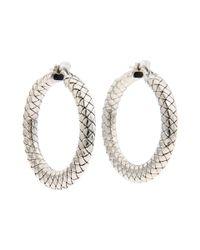 Bottega Veneta | Metallic Intrecciato Argento Antique Earrings | Lyst