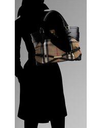 Burberry - Black Medium Bridle House Check Tote Bag - Lyst