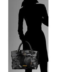 Burberry - Black Bridle Leather Tote Bag - Lyst