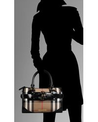 Burberry - Black Medium Check Belted Bowling Bag - Lyst