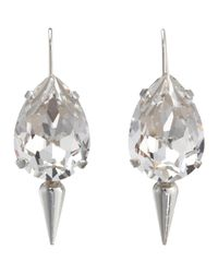 Fallon - Metallic Crystal Small Teardrop Earrings with Spike - Lyst