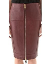 Hakaan - Brown Leather Zip Front Pencil Skirt - Lyst