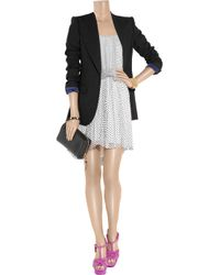 Halston - Black Polka-dot Silk-chiffon Dress - Lyst