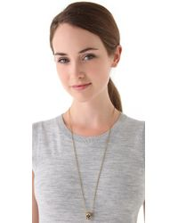 House of Harlow 1960 Metallic Engraved Skull Necklace