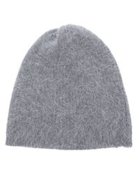 Acne | Gray Ribbed Knit Beanie | Lyst