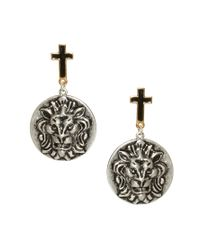 ASOS | Multicolor Cross and Lion Disc Earrings | Lyst