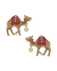 Betsey Johnson | Metallic Gold Tone Camel Stud Earrings | Lyst