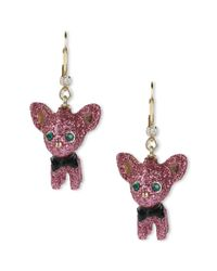 Betsey Johnson | Gold Tone Pink Glitter Chihuahua Drop Earrings | Lyst