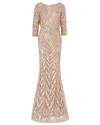 Elie Saab | Beige Three Quarter Sleeves Gown | Lyst