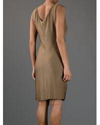 Gucci | Brown Draped Sleeveless Dress | Lyst