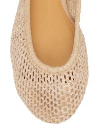 J.Crew Natural Perforated Suede Ballerina Flats