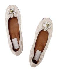 Lanvin Natural Crystal-embellished Satin Ballerina Flats