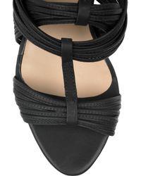 Loeffler Randall Black Anja Twisted Leather Wedge Sandals