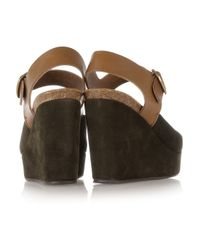 Pedro Garcia - Brown Marnie Suede and Leather Wedge Sandals - Lyst
