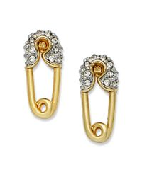Juicy Couture | Metallic Gold Tone Crystal Safety Pin Stud Earrings | Lyst