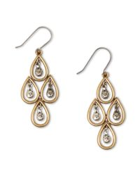 Lucky Brand | Metallic Two Tone Teardrop Chandelier Earrings | Lyst