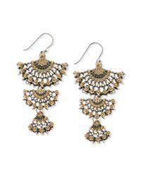 Lucky Brand | Metallic Two Tone Openwork Triple Drop Earrings | Lyst
