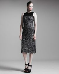 Michael Kors | Black Fuzzy Lace Dress | Lyst