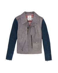 M.i.h Jeans Blue The Leather Jacket with Denim Sleeves