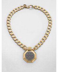 Tory Burch | Metallic Daren Logo Pendant Necklace | Lyst