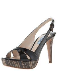 Prada | Brown Cork Leather Crisscross Strappy Woven Platform Sandals | Lyst