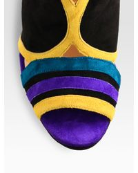 Christian Louboutin | Multicolor Fourmi Suede Colorblock Slingback Sandals | Lyst