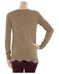 CLU - Natural Lace-trimmed Wool-blend Sweater - Lyst