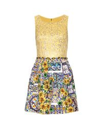 Dolce & Gabbana | Gold Mixed Media Dress with Bead Embellishment | Lyst
