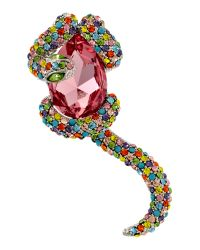 Gemini - Multicolor Snake and Pearl Brooch - Lyst