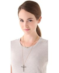 House of Harlow 1960 | Metallic Faceted Metal Cross Necklace | Lyst