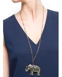 Mango - Metallic Elephant Pendant Necklace - Lyst