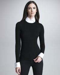 Ralph Lauren Black Label - Black Sweater with Removable Cuffs and Collar - Lyst