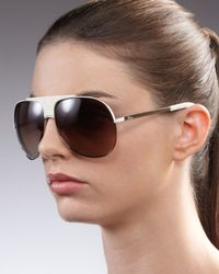 Dior | Brown Cannagedetailed Aviator Sunglasses White | Lyst