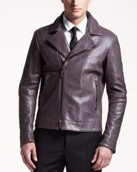 Jil Sander Purple Leather Motorcycle Jacket for men