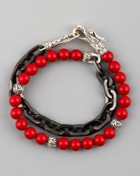 John Hardy - Multicolor Naga Coral & Chain Wrap Bracelet for Men - Lyst