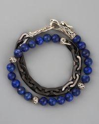 John Hardy | Blue Naga Lapis Chain Wrap Bracelet for Men | Lyst