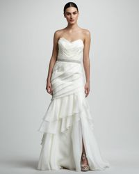 THEIA - White Tiered Organza Mermaid Gown - Lyst