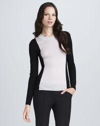 Theory | Black Colorblock Sweater | Lyst