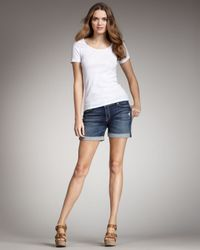 7 For All Mankind | Blue Mid Roll Up Cali Del Sol Shorts | Lyst