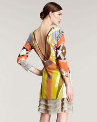 Etro Multicolor Geometric-print Silk Dress