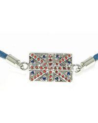 Melissa Odabash - Silver Blue Union Jack Flag Bracelet - Lyst