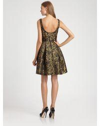 THEIA Metallic Brocade Dress
