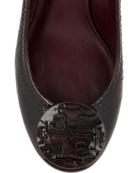 Tory Burch Brown Sally Patent-leather Wedge Pumps