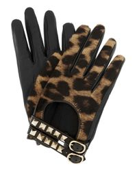 Valentino | Black Rockstud Leather and Calf Hair Gloves | Lyst