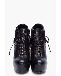 Saint Laurent - Blue Black Tribtoo Shearling Ankle Boots - Lyst
