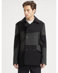 Alexander Wang Black Patchwork Peacoat for men