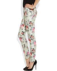 Balmain   White Printed Midrise Skinny Jeans   Lyst