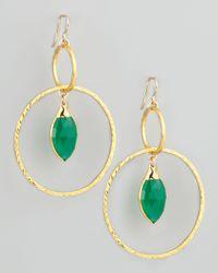 Devon Leigh | Green Hammered Gold Hoop Earrings | Lyst