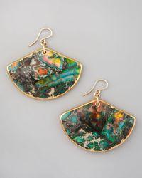 Devon Leigh | Green Rainbow Agate Fan Earrings | Lyst